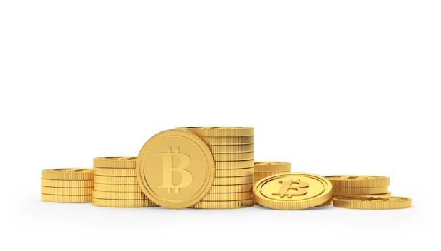 Stacks of golden bitcoin coins