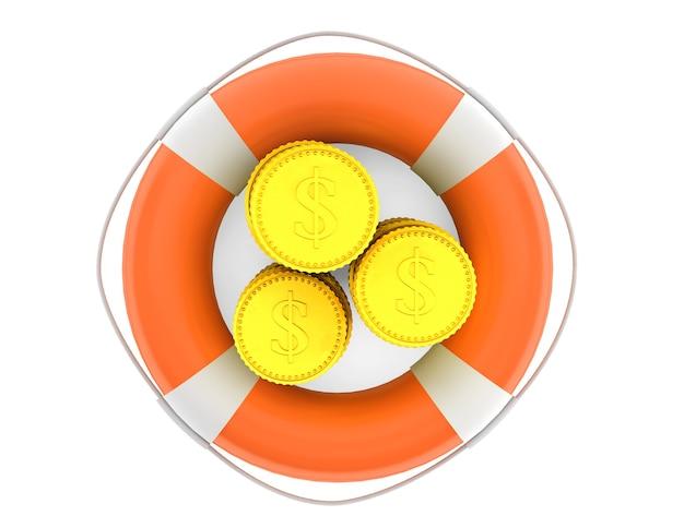 Стеки монет с спасательным кругом на белом фоне
