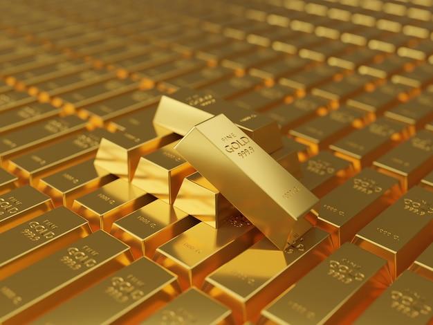Стеки золотых слитков. концепция богатства