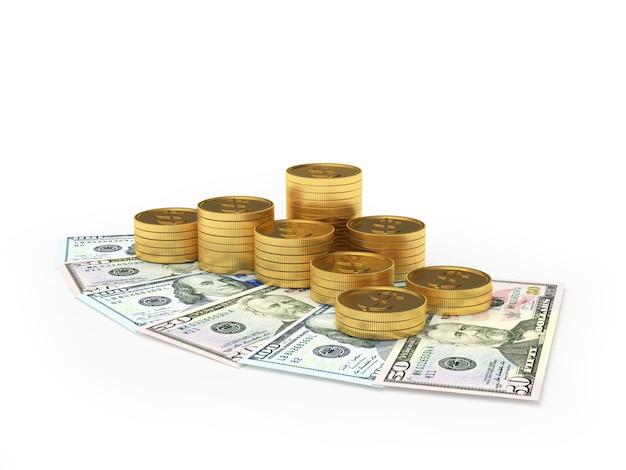 Стеки золотых долларовых монет на долларовых купюрах
