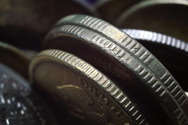 러시아 루블 동전의 스택 근접 촬영. 매크로.