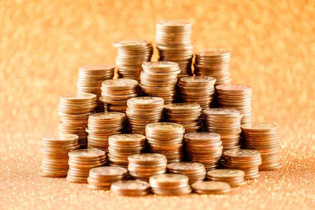 Stacks of old golden coins