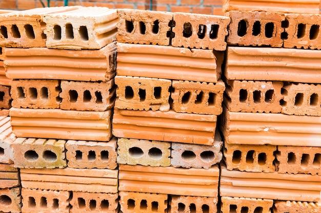 Stacks of terra cotta bricks