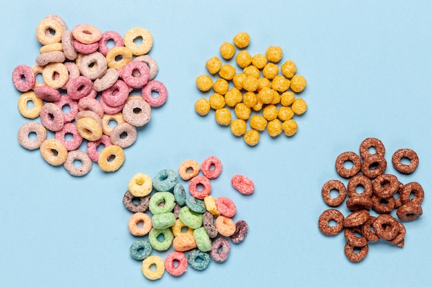Stacks of various cereal loops top view