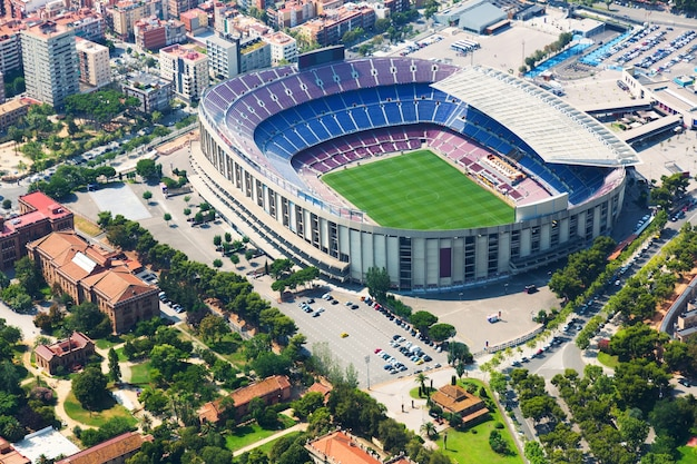 Stadium of barcelona from helicopter.  spain
