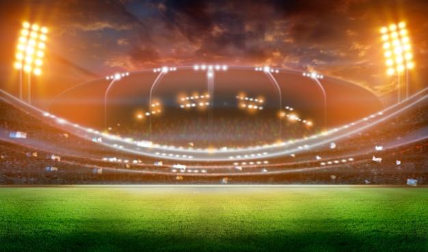 Стадион в огнях и вспышки 3d.