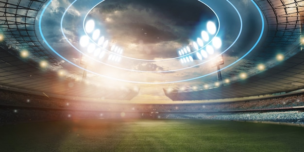 Стадион в огнях и вспышках, футбольное поле