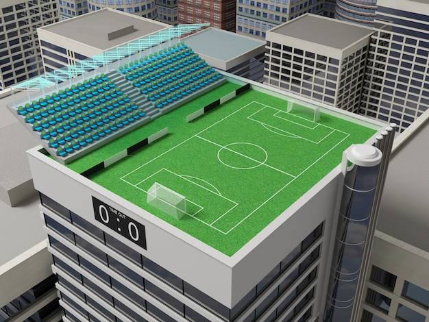 Stadium located on the green roof of a skyscraper.