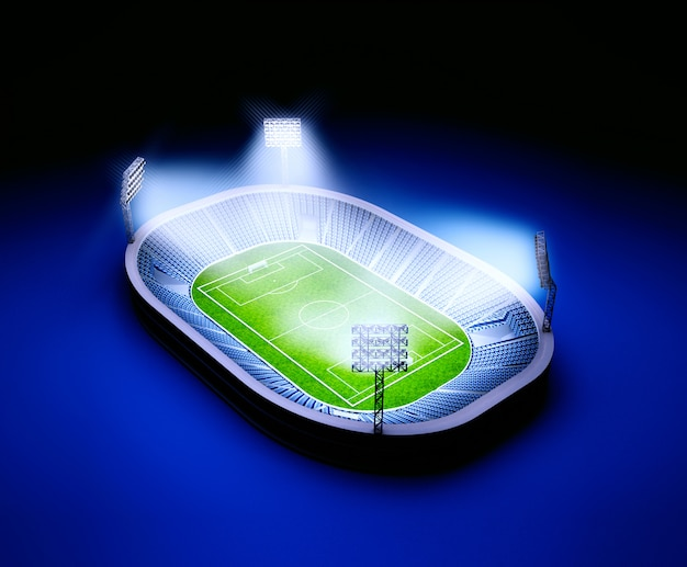 Stadium with soccer field with the lights on dark blue background
