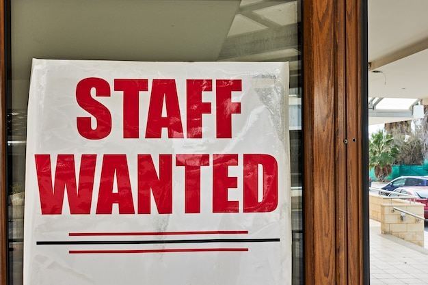 Staff wanted - job vacancy advertisement in a show-case