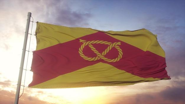 Флаг стаффордшира, англия, развевающийся на фоне ветра, неба и солнца. 3d рендеринг