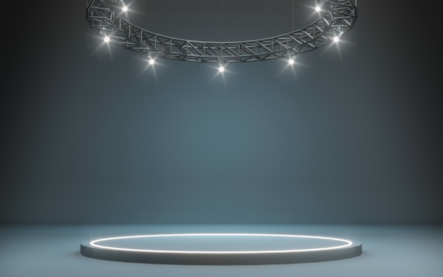 Stage background with spotlight. 3d rendering