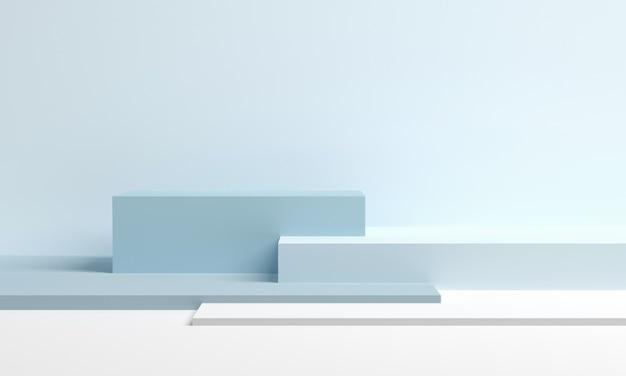연단 플랫폼에서 제품을위한 무대. 최소한의 스타일의 파란색 큐브. 3d 렌더링