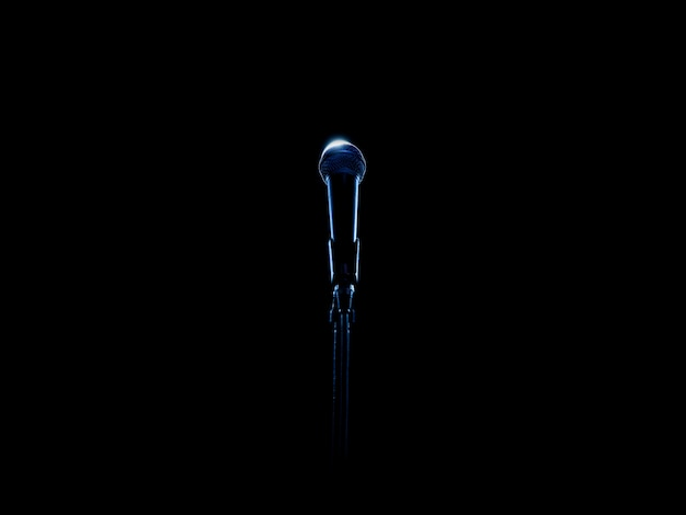 Stage microphone in blue back lit on black background