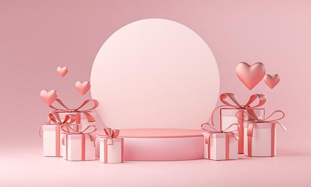 무대 모형 템플릿 발렌타인 결혼식 사랑 심장 모양 및 선물 상자 3d 렌더링