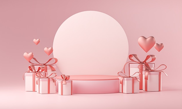 Stage mockup template valentine wedding love heart shape and gift box 3d rendering