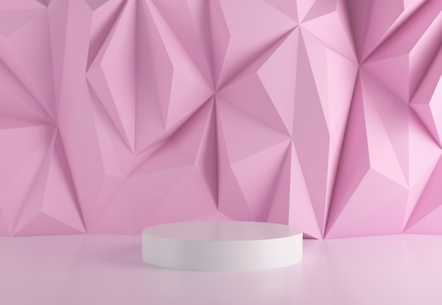 Stage podium in abstract pink.