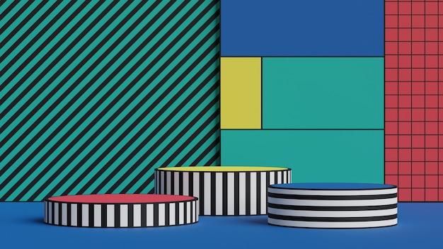 Сценическая подиумная площадка для демонстрации продукции. минимальная сцена с геометрическим рисунком.