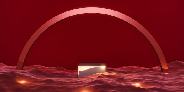 Stage product podium stage red on the water 3d illustration