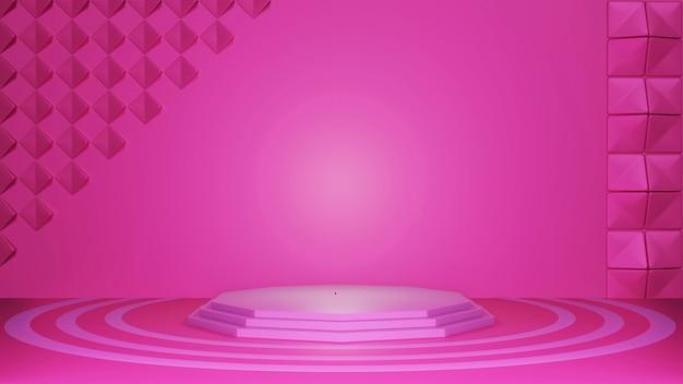 Сценическое шоу 3d розовый фон, абстрактный стиль текстуры, может использоваться в дизайне обложки, дизайне книги, плакате, флаере, фоне веб-сайта или рекламе.