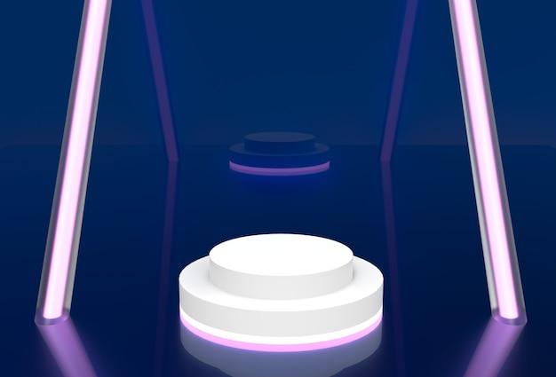 Макет сценического стенда в синем с розовым неоном