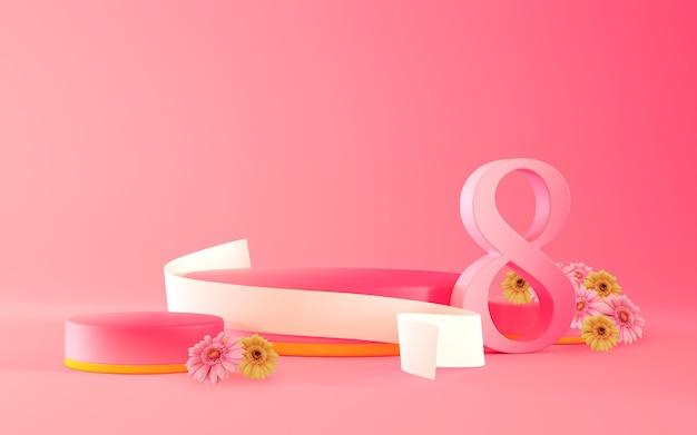 番号の花とリボンの3dレンダリングでステージテンプレート国際女性の日