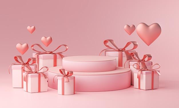 무대 템플릿 발렌타인 결혼식 사랑 심장 모양 및 선물 상자 3d 렌더링