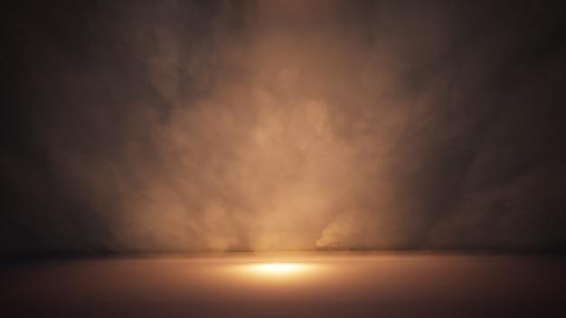 ステージの白い煙とスポットライト