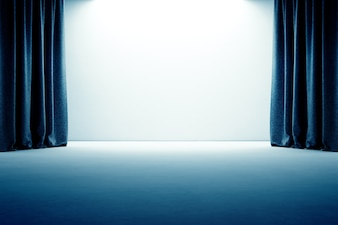 Stage with curtain, empty concrete floor and white wall background