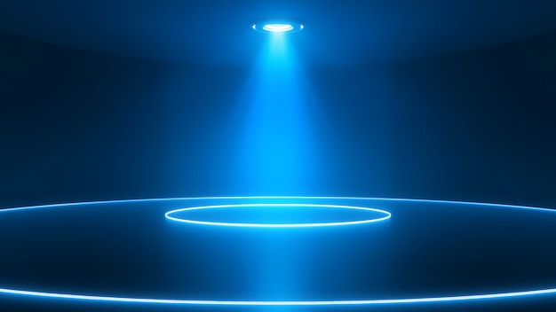 Stage with spotlight glossy floor. glowing neon circles. abstract blue background