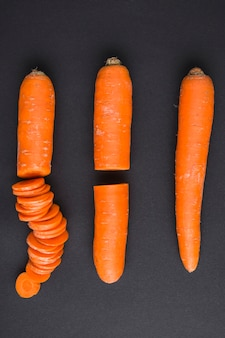 Stages of cutting carrot