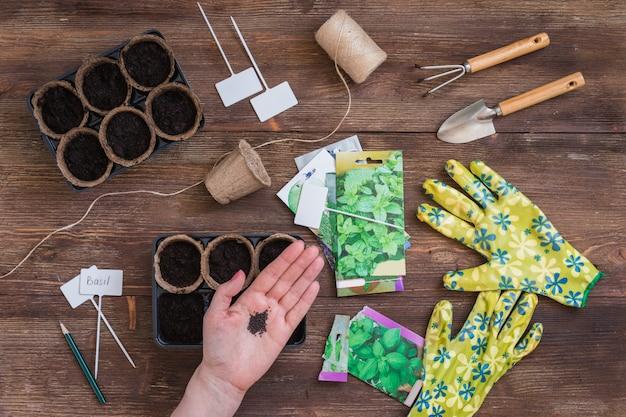 Этапы посадки семян, подготовки садовых инструментов и посуды, разноцветных перчаток, органических горшков