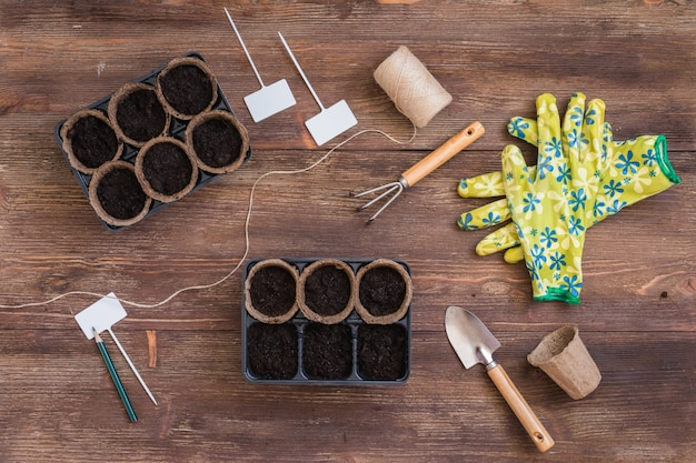 Stages of planting seeds, organic pots with soil, gardeners tools and utensils