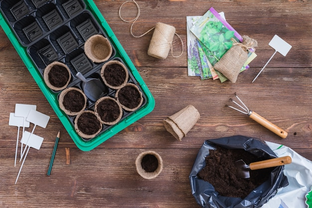 Stages of planting seeds, preparation, filling the organic pots with soil