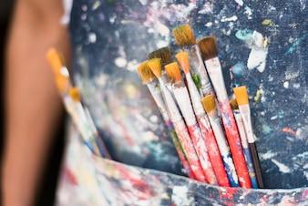 Stained brushes inside pocket
