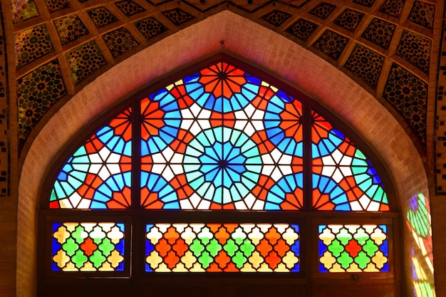 Stained glass window of the mosque nasir-ol-molk in shiraz