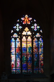 Stained-glass window in saint vitus cathedral