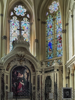 Stained glass windows in the cathedral of st andrew in bordeaux