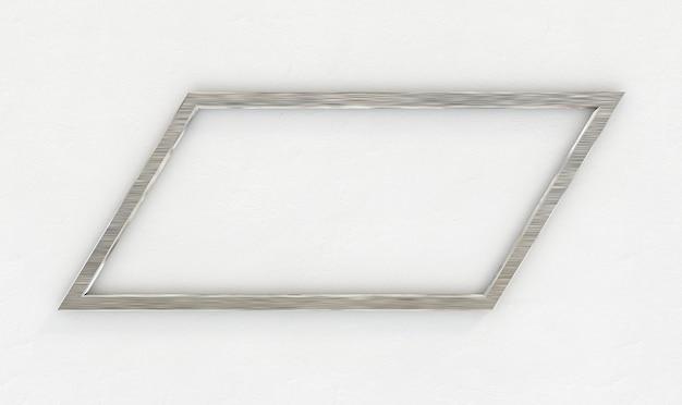 Рамка из нержавеющей стали на белой стене. 3d рендеринг