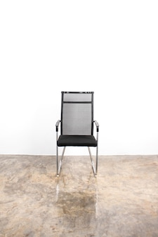Stainless steel chair with white background