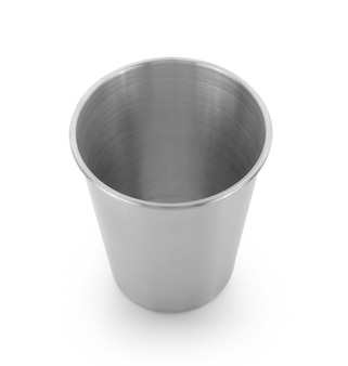 Stainless steel cup isolated on white background
