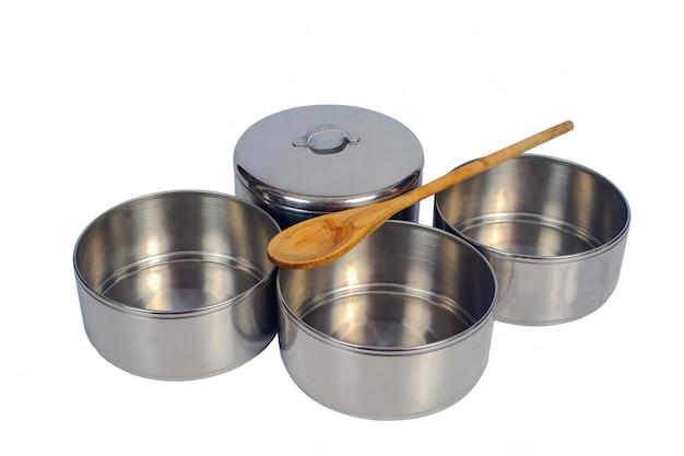ステンレス鋼の食糧キャリアまたはtiffin食糧容器。