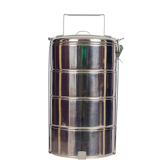 Stainless steel food carrier or tiffin food container.