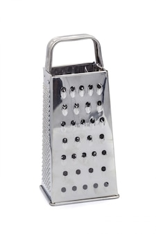 Stainless steel grater kitchen hardware isolated over white background