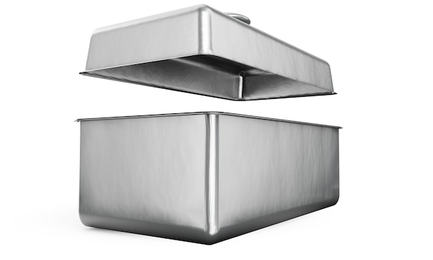흰색 배경에 손잡이가 있는 스테인리스 스틸 또는 주석 금속 빛나는 은색 상자 컨테이너는 모의 및 포장 디자인을 위해 격리되었습니다. 3d 렌더링 그림입니다.