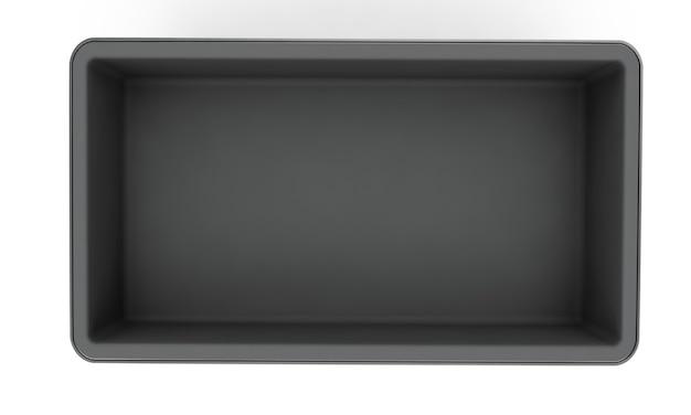 흰색 배경에 손잡이가 있는 스테인리스 스틸 또는 주석 금속 반짝이는 은색 상자 컨테이너