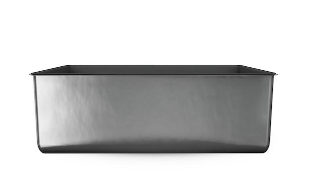 흰색으로 격리된 손잡이가 있는 스테인리스 스틸 또는 주석 금속 반짝이는 은색 상자 컨테이너