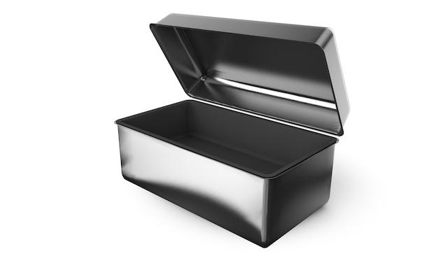 손잡이가 있는 스테인리스 스틸 또는 주석 금속 반짝이는 은색 상자 컨테이너 격리됨