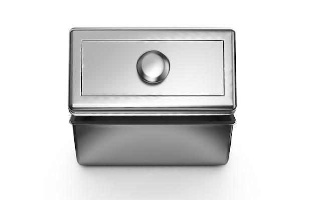 손잡이가 있는 스테인리스 스틸 또는 주석 금속 반짝이는 은색 상자 용기