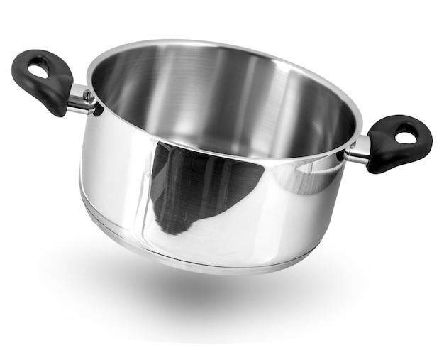 ステンレス鍋。白で隔離